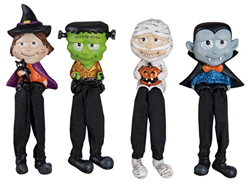 Happy Halloween Witch, Monster, Mummy and Dracula Resin Shelf Sitter Figurine Set of (Dracula's Daughter Halloween Costumes)