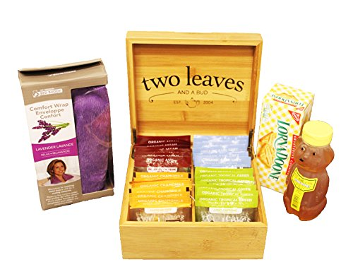 Gifts for Mom | Tea Gift Set | Soothing Microwaveable Wrap | Bamboo Tea Box | Honey Bear - Wrap Microwaveable