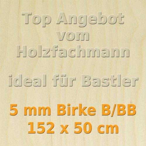 PiHaMi® 5mm Birke Sperrholzplatte Qualität B/BB (152 x 50cm) GP 22, 49 €/m² sperrholzshop24.de