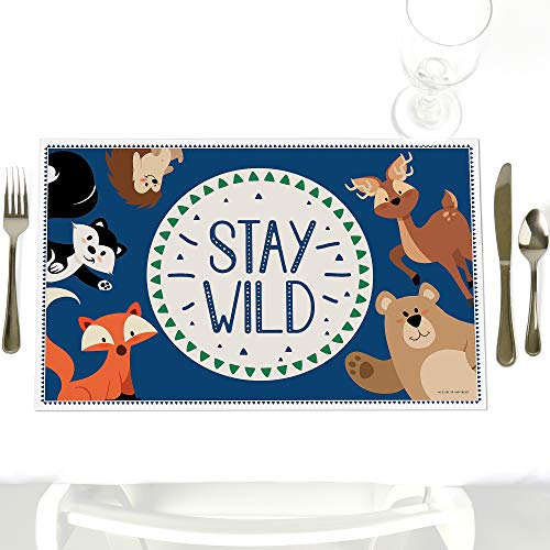 - Stay Wild - Forest Animals - Party Table Decorations - Woodland Baby Shower or Birthday Party Placemats - Set of 12