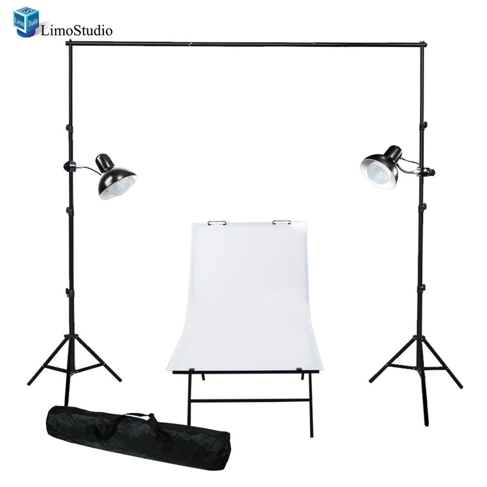 LimoStudio Photography Photo Studio Foldable Photo Shooting Table with Gooseneck Light LED Continuous Lighting Backdrop Support Kit , AGG1678 by LimoStudio