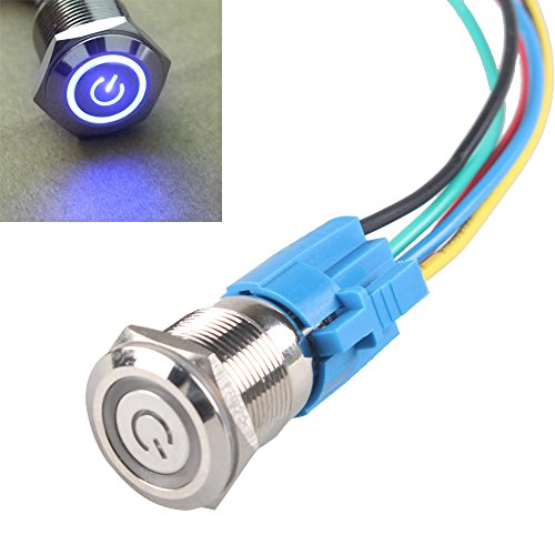 push button toggle switch com e supportacirc132cent 19mm 12v 5a power symbol angel eye halo car blue led light metal push button toggle switch socket plug wire
