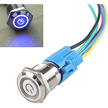E Support™ 19mm 12V 5A Power Symbol Angel Eye Halo Car Blue LED Light Metal Push Button Toggle Switch Socket Plug Wire