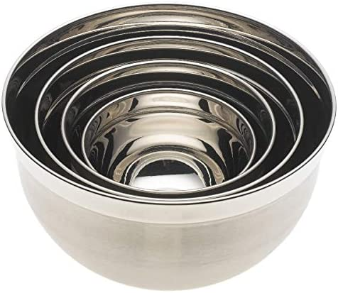 YBM Home 1170-71-72-73set Deep Professional Heavy Duty Quality Stainless Steel Mixing Bowls, 3 Quart, 5 Quart, 6.5 Quart and 10 Quart