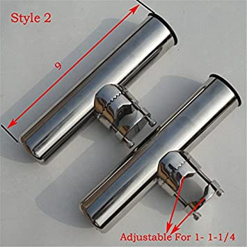 spareflying 1pcs 2pcs Stainless Clamp on Fishing Rod Holder for Boat Marine Rails 7 8 to 1 ,1 25mm to 1-1 4 32mm Tube