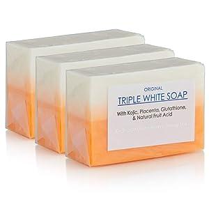 3 Bars of Kojic Acid, Placenta, Glutathione Triple Whitening/Bleaching Soap