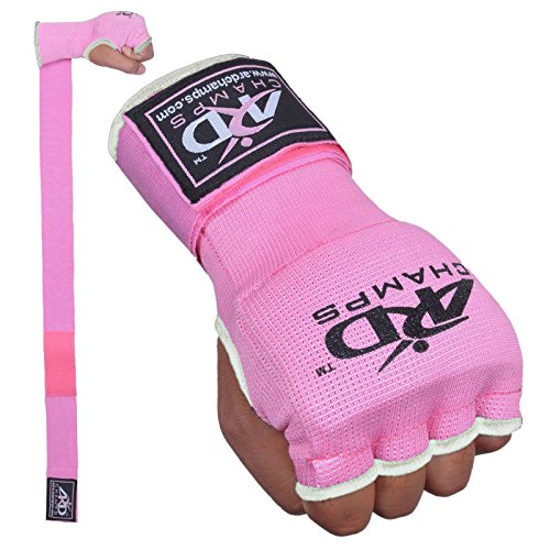 ARD Training Boxing GEL Padded Inner Gloves Hand Wraps MMA Muay Thai Martial Arts Fist Protector Mitts (Pink, Medium)