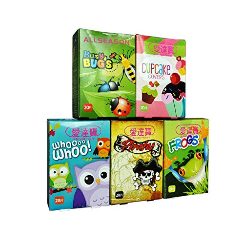 Pack of 100pcs/5boxes Assorted Breathable Waterproof Cartoon Adhesive Bandages Hemostasis for Children Kids