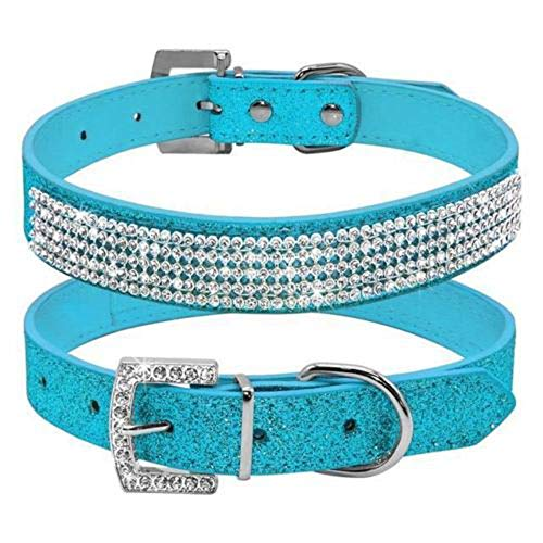 haoyueer Cute Dazzling Sparkling Leather Dog Cat Rhinestone Collar Crystal Diamond Pet Dog Puppy Collar(Blue,S)