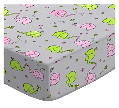 SheetWorld Fitted Pack N Play Sheet - Fits Graco Square Playard - Elephants Jersey Knit - Made in USA