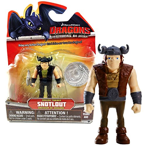Spin Master Year 2013 Dreamworks Movie Series DRAGONS - Defenders of Berk 3 Inch Tall Figure - Dragon Trainer SNOTLOUT with Shield and Battle (Dragon Battleaxe)