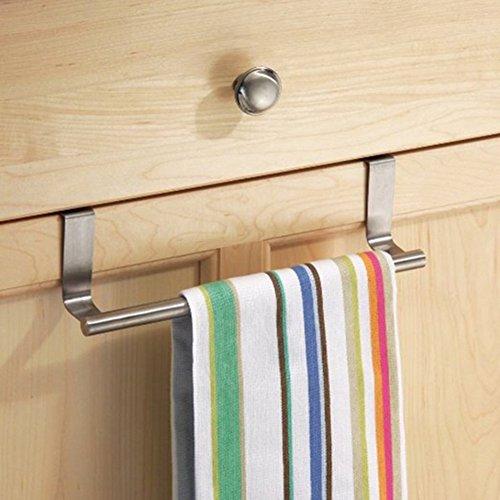 ESHOO 9 Inch Towel Bar Holder Over Door Hanger Hook for Bathroom or Kitchen, Brushed Stainless Steel