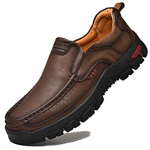 Shoe Men Walking (VENSHINE Mens Walking Shoes Leather Lightweight Breathable Casual Slip On Loafers (11 D(M) US-Men=46EU/FR, Red-Brown))