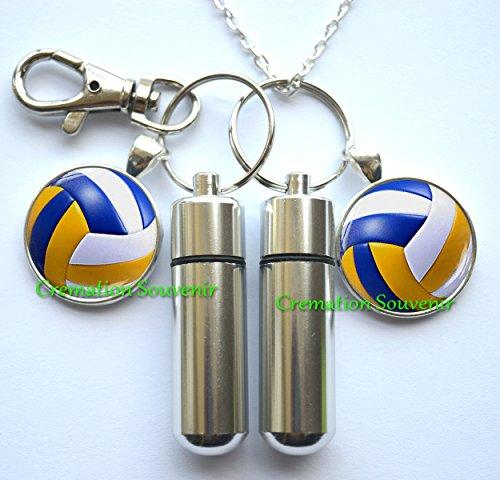 Volleyball Urn Cremation Necklace and Keychain Jewelry -Volleyball Cremation Necklace Jewelry -Ashes Necklace Jewelry-Memorial Jewelry-Volleyball Cremation Locket