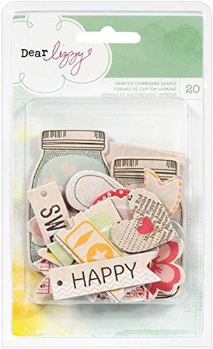 American Crafts Dear Lizzy Neapolitan Chipboard Shapes 20/Package 78070