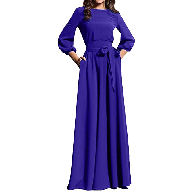 Womens Elegant Evening Party Dress Long Sleeve Solid Tie Maxi Dress Crewneck Long Prom Gown(