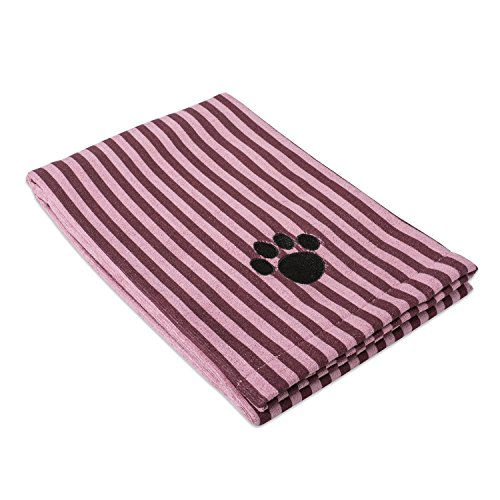 DII Bone Dry Microfiber Pet Bath Towel with Embroidered Paw Print, 44x27.5, Ultra-Absorbent & Machine Washable for Small, Medium, Large Dogs and Cats-Cranberry Red Stripe