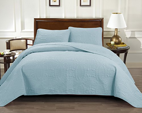Rizzo Italian Collection Oversize Luxury Coverlet 116X106 Inches 1800 Premier series 3-Piece Bedspread Set-Super Soft-SALE-HIGHEST QUALITY Brushed Microfiber Pinsonic Quilt - King, Light Baby Blue