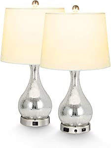 2X Silver Mercury Glass Table Lamp, USB Crackled Glass Gourd Table Lamp with Linen Fabric Shade, Ambient Light,USB Charging Port & Power Socket Perfect for Living Room Bedroom or Office