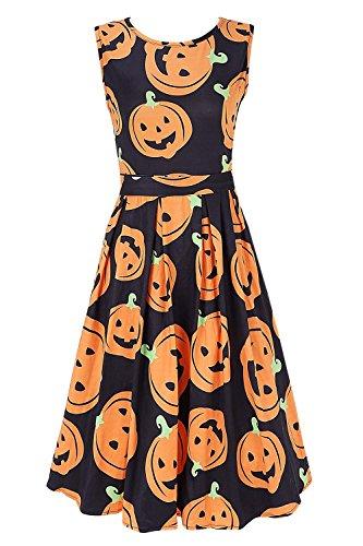DREAGAL Women's Pumpkin Halloween Boatneck Sleeveless Vintage Tea Dress with Belt -