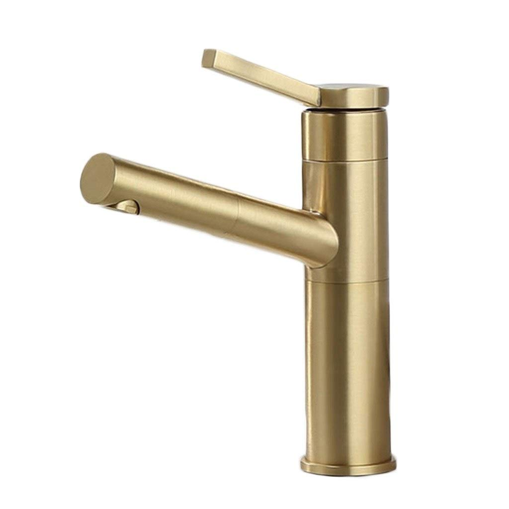 Kitchen Sink Faucets Faucet Nordic Simple Light Luxury Brushed Gold Pull Rotating Copper Wash Basin Hot And Cold Water Faucet Above Counter Basin (Color : Gold, Size : 2015cm)