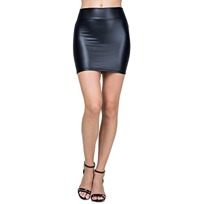 [15St] Women's Classic High Waisted Faux Leather Bodycon Slim Mini Pencil Skirt [Made in USA] (Large) Black at Women's Clothing store