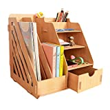 MineDecor Wood Desk Organizer Drawer Trays Office Desktop Organizers File Holders Office Supplies 4 Tier 6 Compartments (Grain)