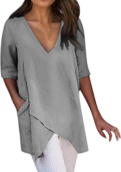 Womens Casual Tops Plus Size Sequins Linen Loose T-Shirt V-Neck 3//4 Sleeve Casual Pullover Basic Tunic