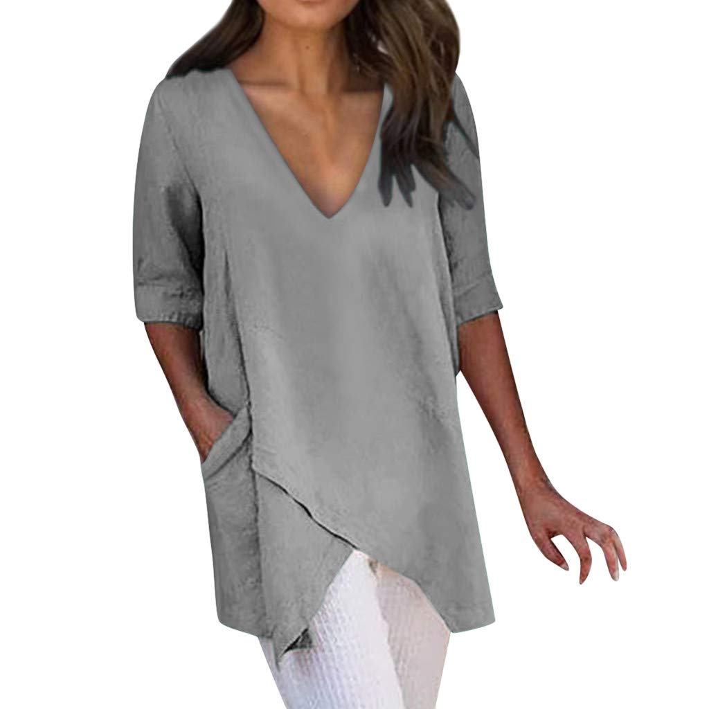 Tantisy ♣↭♣ Women's Plus Size Tops V-Neck Half Sleeve Solid Tee Irregular Hem Chic Blouses Casual Tshirt with Pockets(S-5XL) Gray