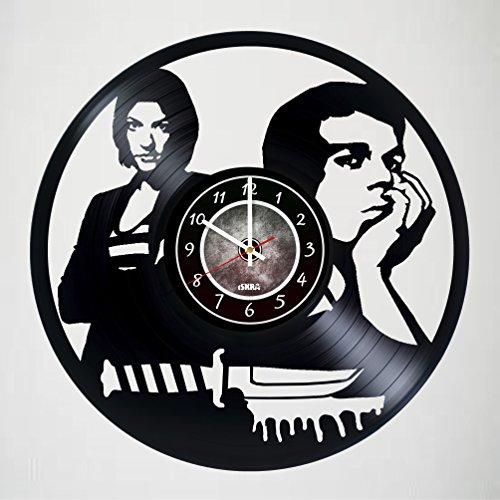 DEXTER Vinyl Record Wall Clock - Get unique living room wall decor - Gift ideas for adults, friends, men and women – Unique Art Design - Ornament - Decorations - - Glasses Dexter