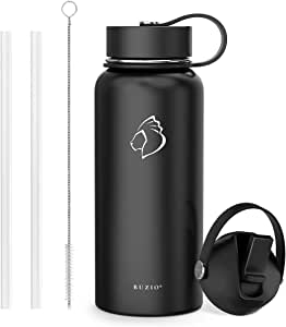 BUZIO Stainless Steel Water Bottle, BPA Free & Vacuum Insulated with Straw Lid and Flex Cap(Cold for 48 Hrs, Hot for 24 Hrs), Send from Australia,940ml/1000ml/1800ml Vacuum Insulated Water Bottle