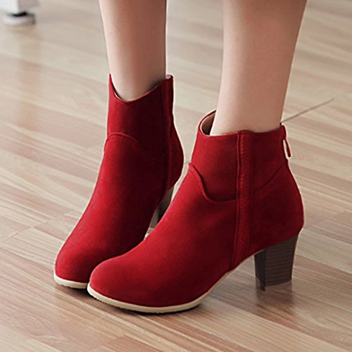 AIYOUMEI Womens High Block Heel Chelsea Boots Faux Suede Mid High Ankle Boots Shoes For Women Shoes For Women Red 6ZToDRFiFv