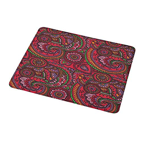 (Non-Slip Rubber Mouse Pad Asian,Pattern Based on Traditional Asian Vintage Stylized Twists Lines Spirals,Dark Coral Orange Green,Customized Desktop Laptop Gaming Mouse Pad 9.8