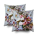 Musesh Pack of 2 renoir beautiful rose bouquet Cushions Case Throw Pillow Cover Sofa Home Decorative Pillowslip Gift Ideas Household Pillowcase Zippered Pillow Covers 20X20Inch