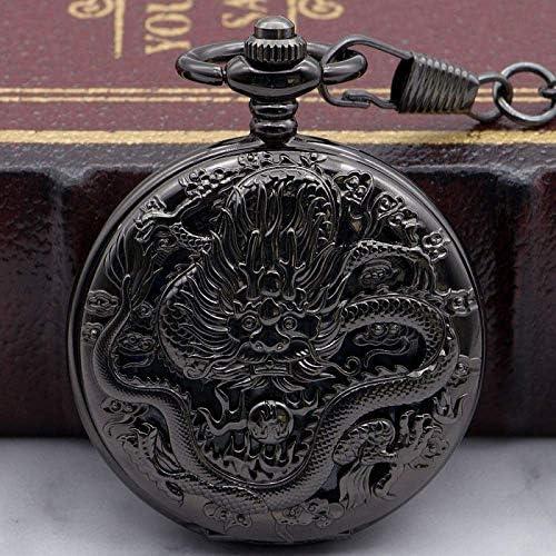 YXZQ懐中時計、チェーンファッションスケルトンウォッチメカニカルヴィンテージハンドウィンドスチームパンクメンズ懐中時計
