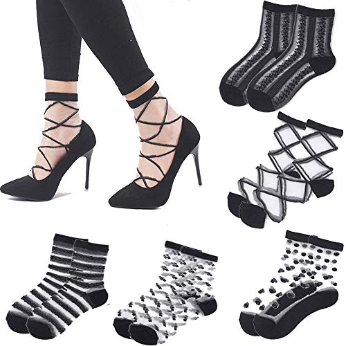 Heels Ankle Socks - Fishnet Transparent Socks for Women - 5 Pairs of Mesh Ankle Socks, Short Stocking, Great Lace Socks Selection Black 1