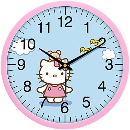 YOURNELO Cute Cartoon Simple Noiseless Wall Clock for Children Hello Kitty 1