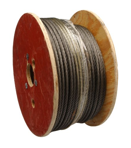 Steel Wire Rope on Reel, 6x19 Class Fiber Core, 1/2