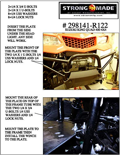 2008-2016 Suzuki King Quad 400 4x4 Winch Plate By Strong Made 298141-R122 by Strong Made (Image #1)