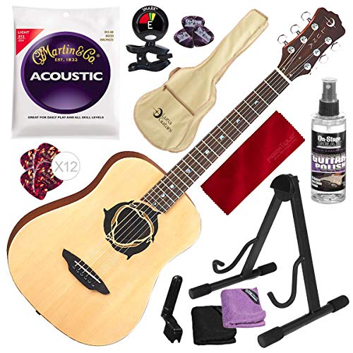 Luna Safari Series Dolphin Travel-Size Dreadnought Acoustic Guitar with Guitar Stand and Tuner + Complete Beginners Bundle