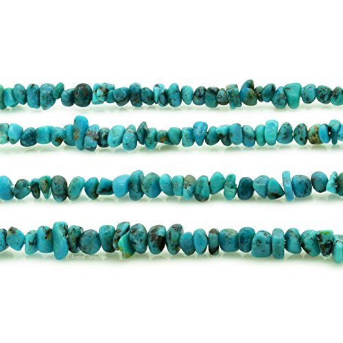 Bluejoy Genuine Natural American Turquoise 3-4mm Free-Form Baby Size Chip Bead 32 inch Strand for Jewelry - Strand Single Turquoise Necklace