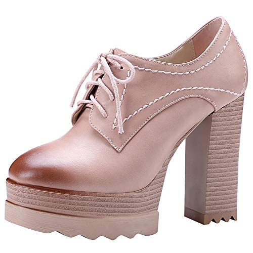 Jamron Women Vintage High Platform Block Heel Court Shoes Elegant Derby Lace-ups Pink SN020119 US7.5 ()