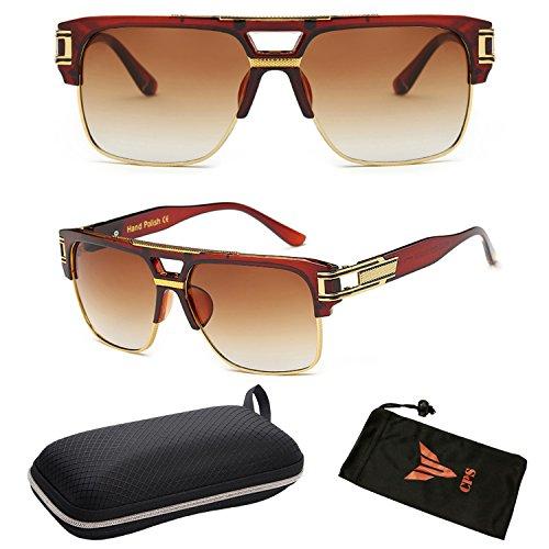 (#P9762-TT) Latest Newest Designer Fashion Mirror Retro Sunglasses Eyeglasses + Hard - Latest Sunglasses Designer