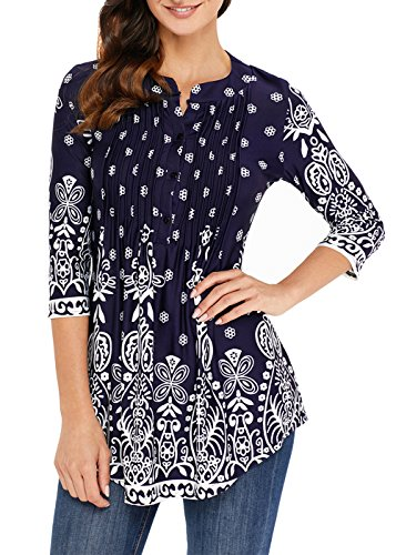 Aincrso Women Floral Tunic with 3/4 Sleeves - Long Casual Floral Shirt Blouse with Round Neck – Buttons up Top (3/4 Sleeve Silk Tunic)