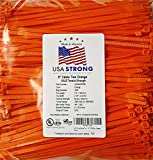 "8"" Cable Ties. Premium Nylon Wire Management Zip-ties. Several colors available in 1,000 piece pack or Bulk Wholesale Case Quantity. 50 LB Tensile. USA Strong Cable Ties (8'' 1000 Pack, Orange)"