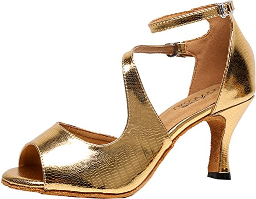Wedding Shoes PU Tango Dance Customize Latin Toe golden Peep AQQ Heel Party 5009 Salabobo Womens qwfIHOpw