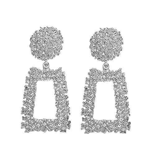 Women Girl Raised Design Dangle Statement Earrings Golden/Silver Gorgeous Geometric-shaped Ear Stud Hoop Earrings