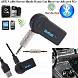 PaddSun Bluetooth Receiver, Portable 3.5mm Streaming Car A2DP Wireless Bluetooth AUX Home Car Sound System Audio Music Receiver Adapter with Microphone for iPhone Samsung Android Cell Phones PC
