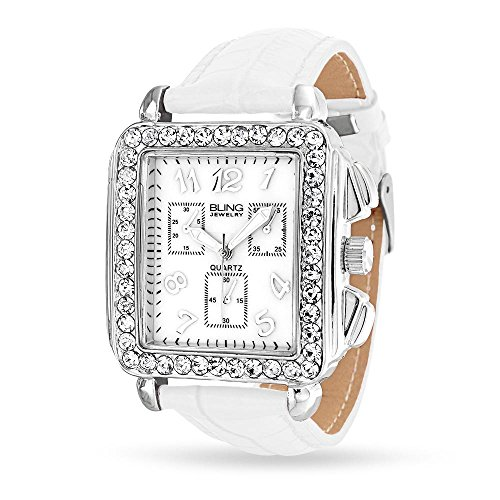 Bling Jewelry Square Deco Style White Leather Strap Stainless Steel Back Watch (Bling Watch Style)