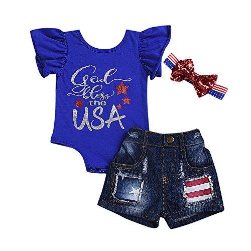 Fineser 3PCs Toddler Kid Baby Summer Girl Outfits Clothes 4th of July Star Stripe Romper+Denim Shorts+Headband Set (Dark Blue, 24M)